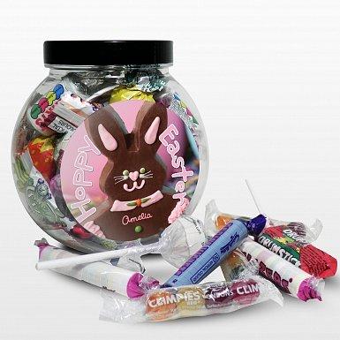 Personalised Pink Bunny Sweet Jar