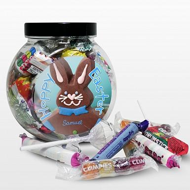 Personalised Blue Bunny Sweet Jar