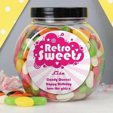 Personalised Retro Pink Jelly Beans Sweet Jar