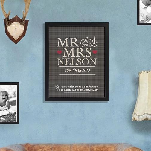 Personalised Mr & Mrs Framed Print UK [United Kingdom]