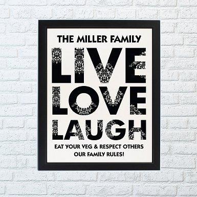 Personalised Live Love Laugh Framed Print UK [United Kingdom]