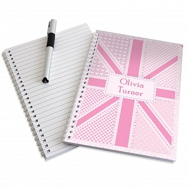 Personalised Pink Patchwork A5 Notebook