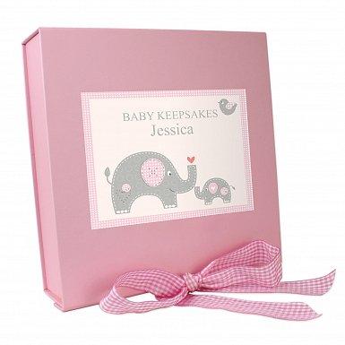 Personalised Pink Baby Elephant Gift Box