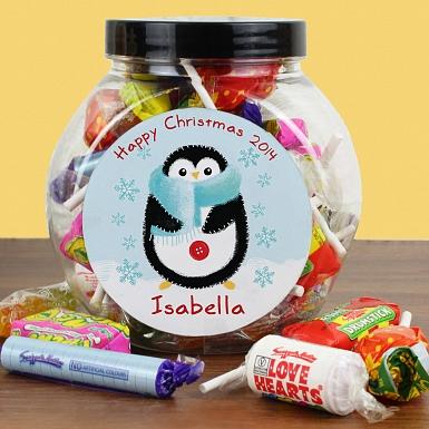 Personalised Felt Stitch Penguin Sweet Jar