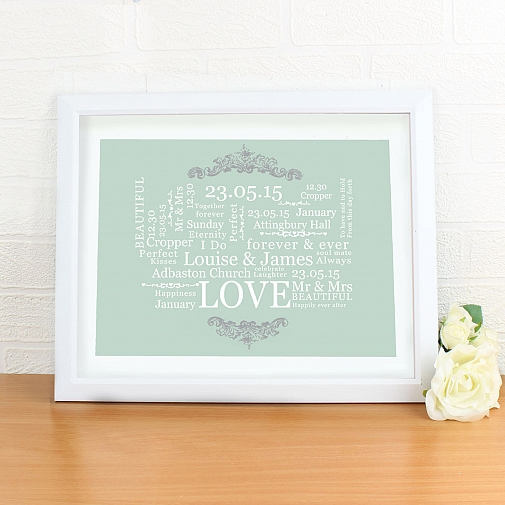 Personalised Wedding Typographic Art Poster White Frame