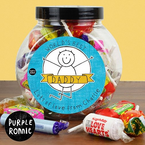 Personalised Purple Ronnie Celebration Jar of Sweets For Him