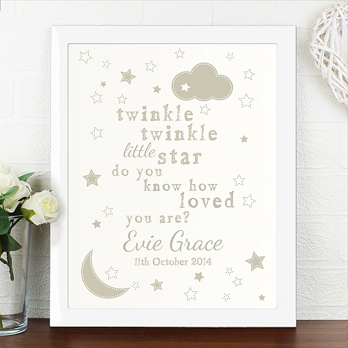 Personalised Twinkle Twinkle Poster White Frame