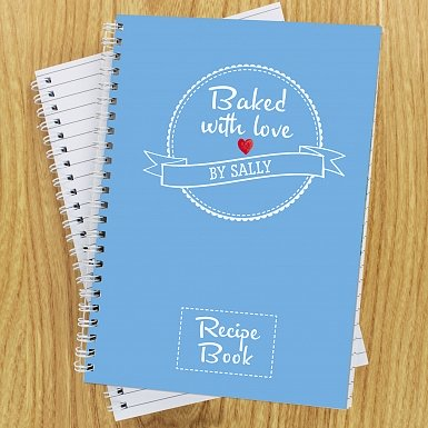 Personalised Baked With Love Recipes A5 Notebook