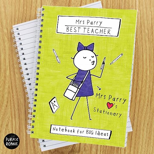 Personalised Purple Ronnie Female Teacher A5 Notebook