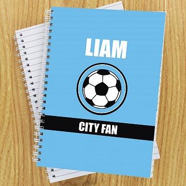 Personalised Sky Blue Football Fan A5 Notebook