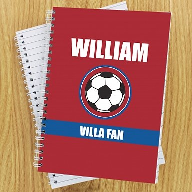 Personalised Claret and Blue Football Fan A5 Notebook