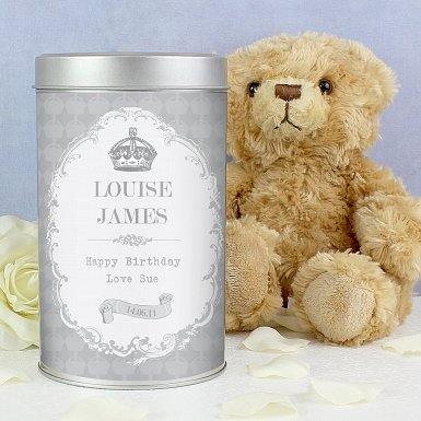 Personalised Royal Crown Teddy in a Tin