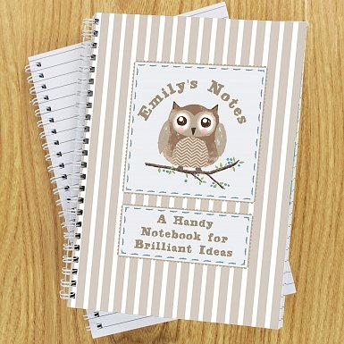 Personalised Woodland Owl A5 Notebook