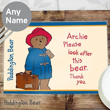 Personalised Paddington Bear Placemat