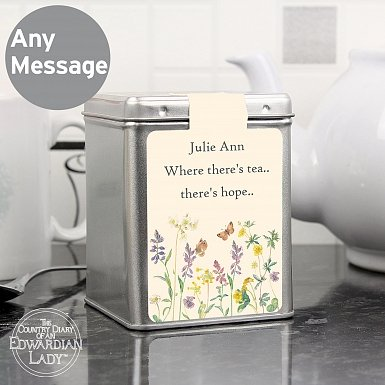 Personalised Country Diary Wild Flowers Tea & Tin