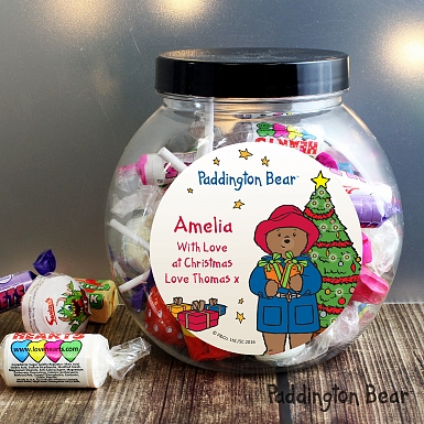 Personalised Paddington Bear Christmas Sweets Jar