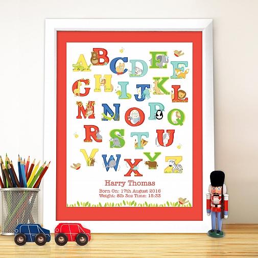 Personalised Animal Alphabet White Poster Frame