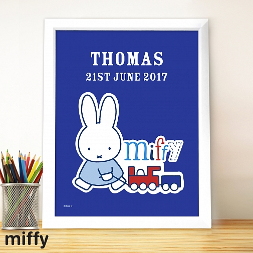 Personalised Miffy Train Large Name Frame