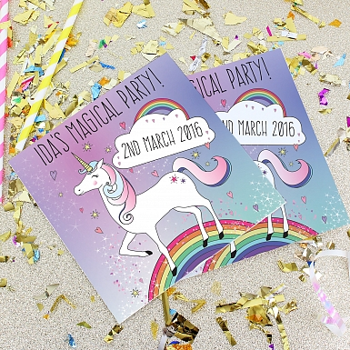Personalised Unicorn Party Invitations