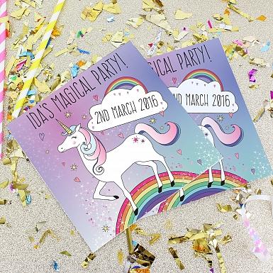 Personalised Unicorn Party Invitations