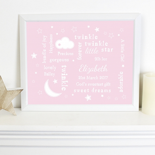 Personalised Twinkle Twinkle Typography Pink Poster Frame