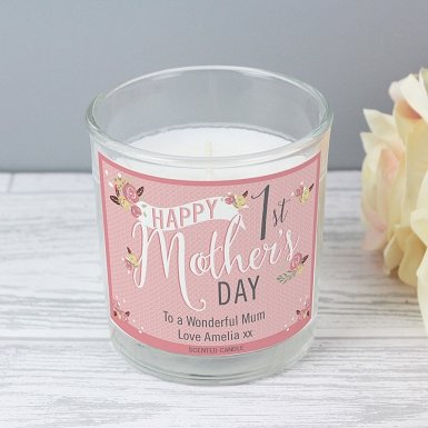 Personalised Floral Bouquet 1st Mother's Day Scented Jar Candle