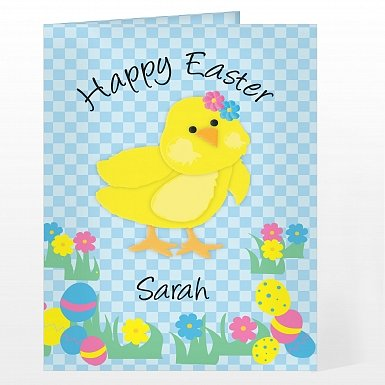 Personalised Happy Easter chick Card