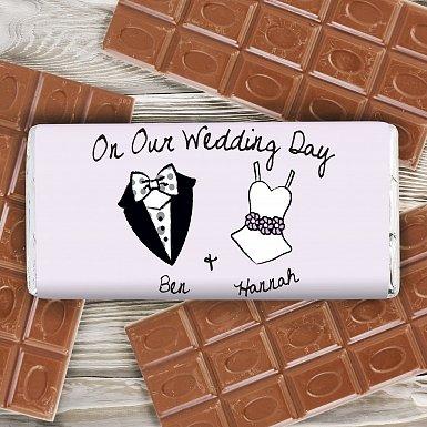 Personalised Dotty Wedding Milk Chocolates Bar