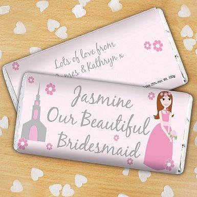 Personalised Beautiful Bridesmaid Milk Chocolates Bar