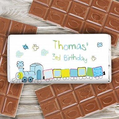 Personalised Patchwork Train Milk Chocolates Bar