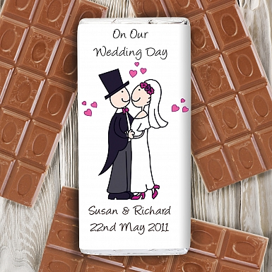 Personalised Cartoon Wedding Milk Chocolates Bar