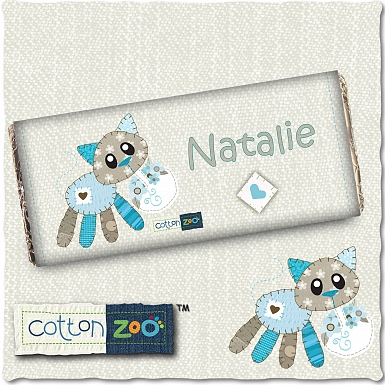 Personalised Cotton Zoo Calico the Kitten Milk Chocolates Bar
