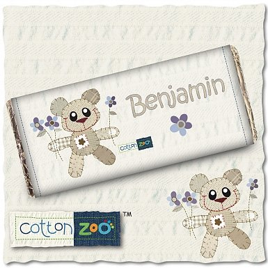 Personalised Cotton Zoo Boys Tweed the Bear Milk Chocolates Bar