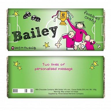 Personalised Bang on the Door Football Crazy Milk Chocolates Bar