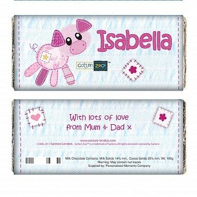 Personalised Cotton Zoo Organdie the Piglet Milk Chocolates Bar