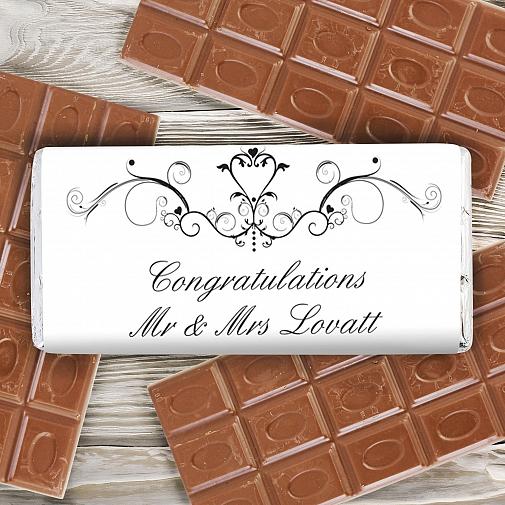 Personalised Ornate Swirl Milk Chocolates Bar