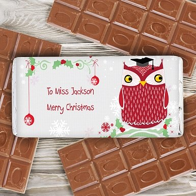 Personalised Christmas Owl Milk Chocolates Bar