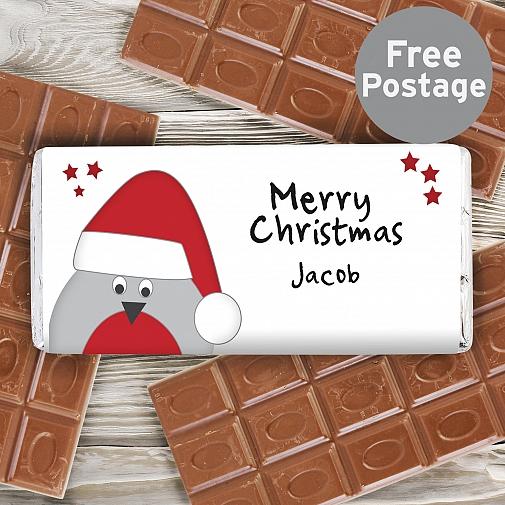 Personalised Robin Milk Chocolates Bar