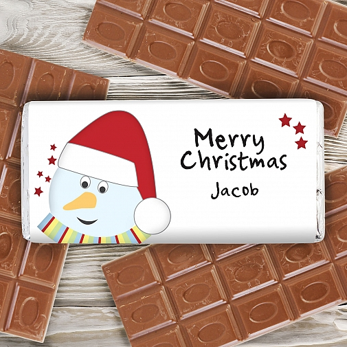 Personalised Snowman Milk Chocolates Bar