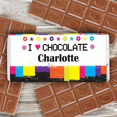 Personalised Rainbow Milk Chocolates Bar