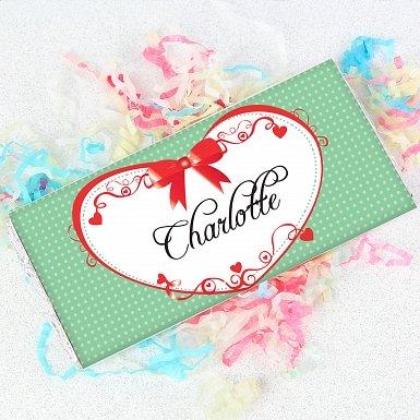 Personalised Red Ribbon Milk Chocolates Bar