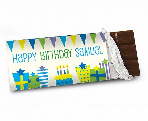Personalised Blue Birthday Presents Milk Chocolates Bar