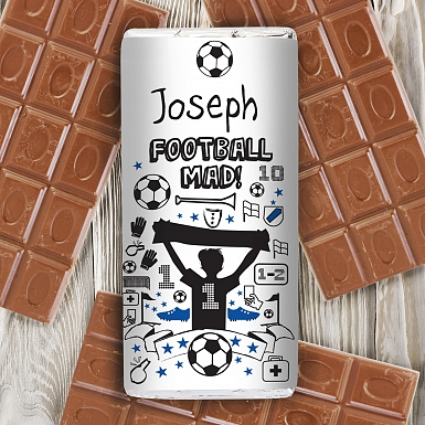 Personalised Football Milk Chocolates Bar