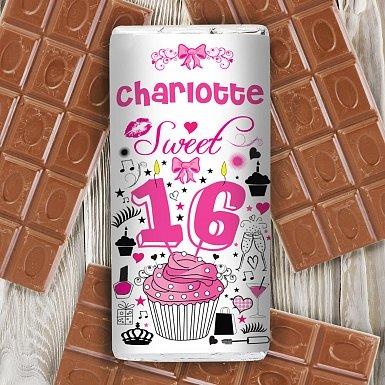 Personalised Sweet 16 Milk Chocolates Bar
