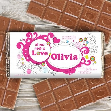Personalised Groovy Doodle Love Milk Chocolates Bar