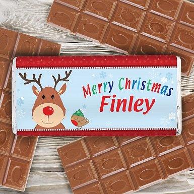 Personalised Rudolph Milk Chocolates Bar