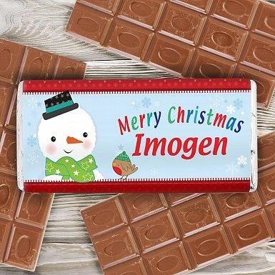 Personalised Snowman Milk Chocolates Bar