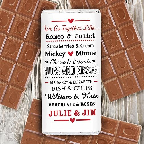 Personalised We Go Together Like.... Milk Chocolates Bar