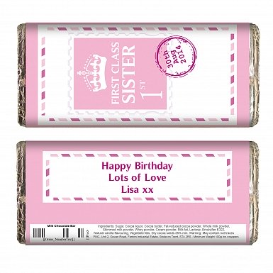 Personalised Pink 1st Class Milk Chocolates Bar