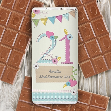 Personalised Birthday Craft Milk Chocolates Bar